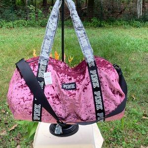 PINK Victoria's Secret Velvet Duffle Bag.